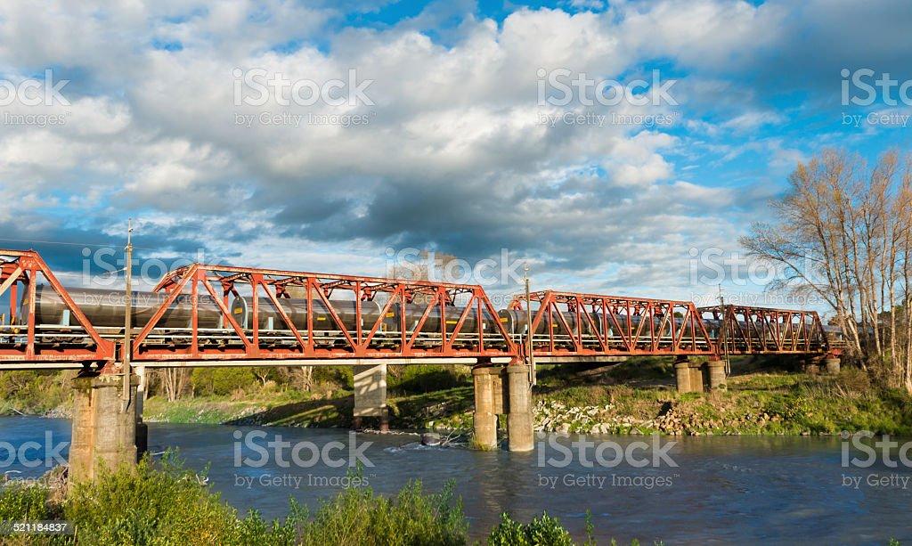 Tanker Train Bridge stock photo
