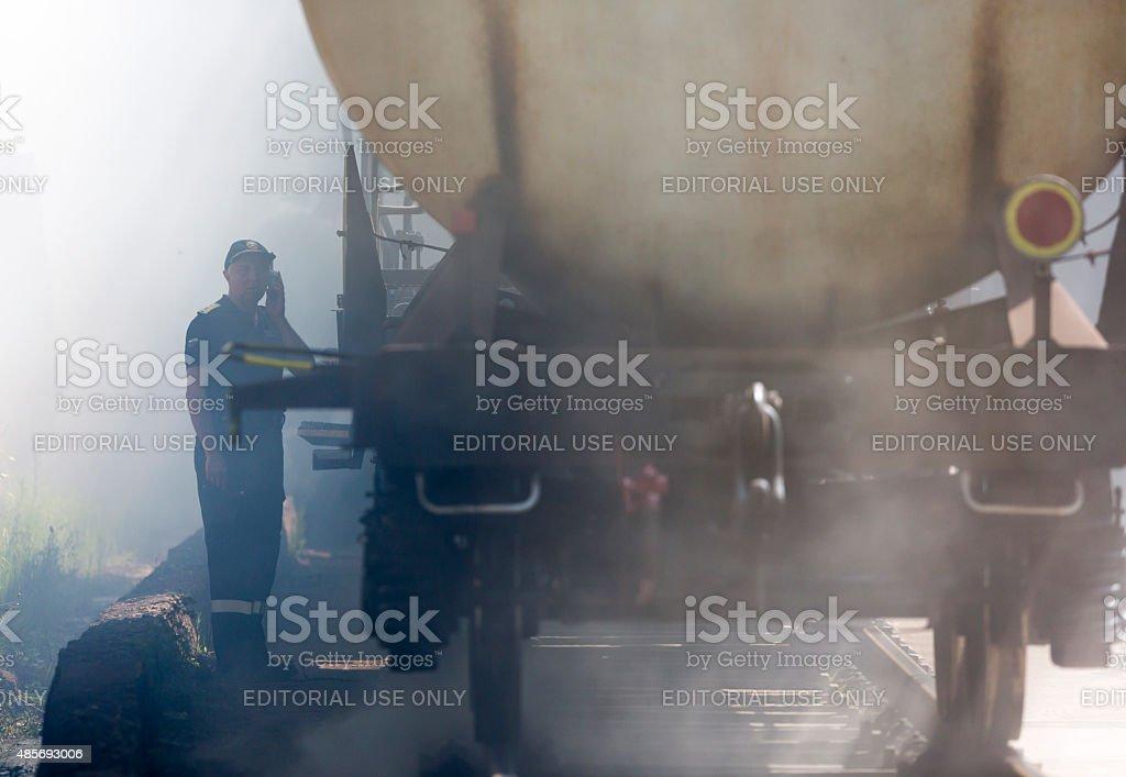 Tanker train insmoke firefighter stock photo