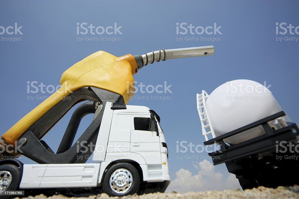 Tanker truck on a Fuel Pump royalty-free stock photo