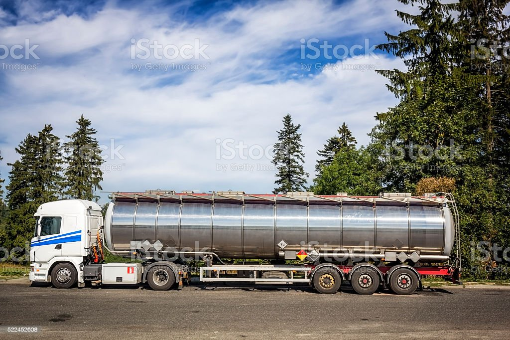 Tanker Truck on the parking lot stock photo