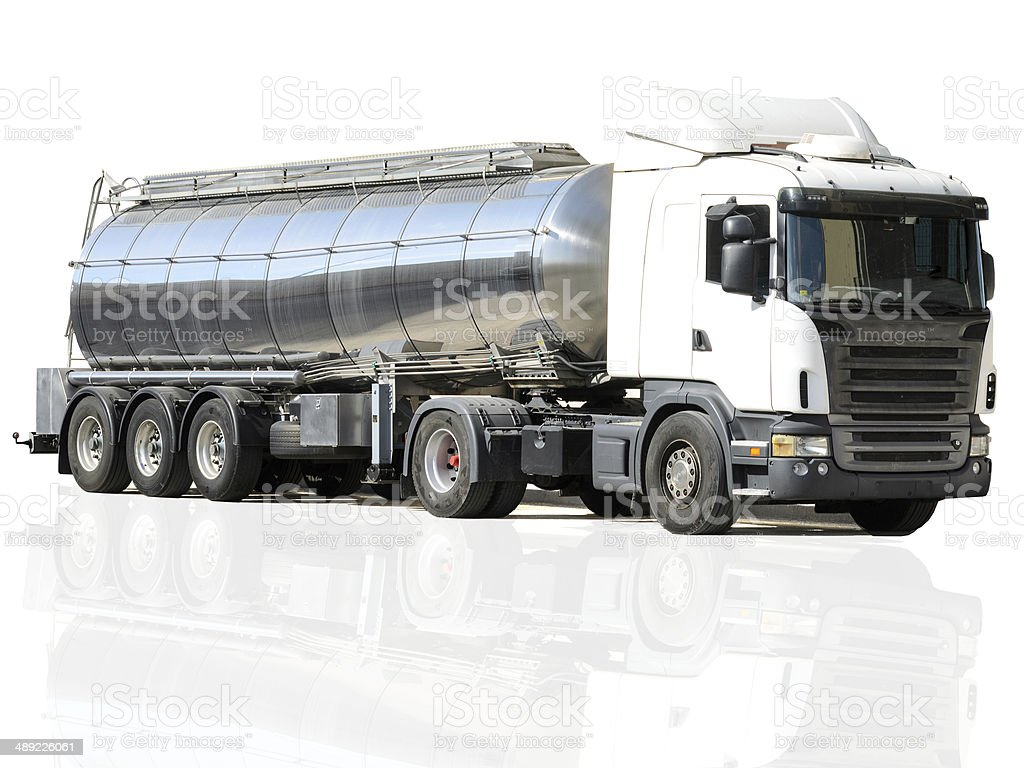 camion cisterna en el fondo blanco stock photo