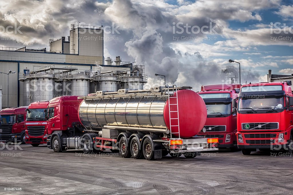 Tanker Trucks and chemical plant stock photo