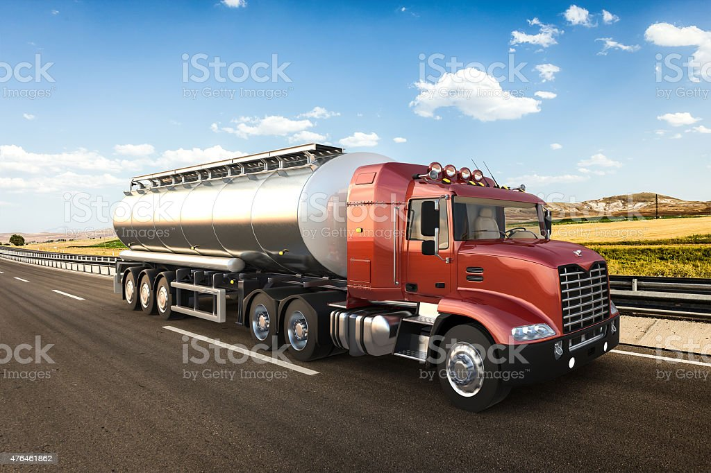 Tanker with beautiful landscape background stock photo