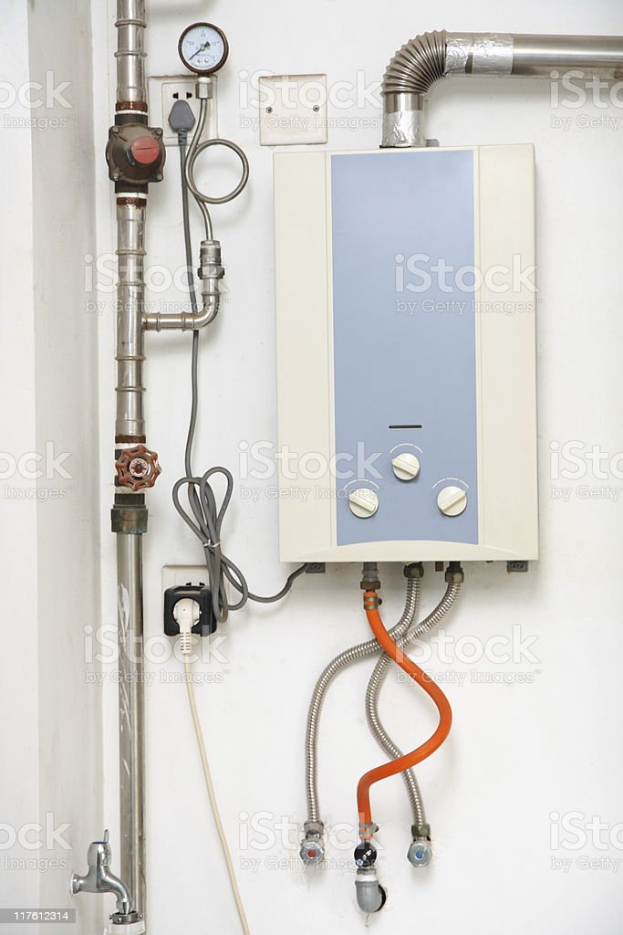 tankless hot water heater stock photo