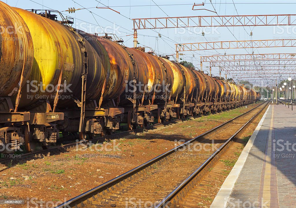 tanks by rail stock photo