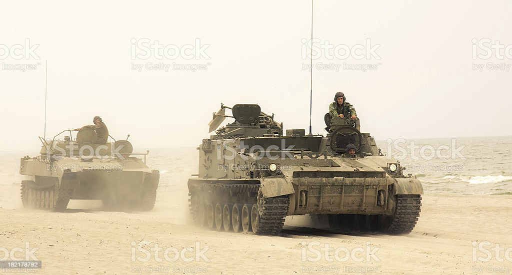 Tanks convoy stock photo