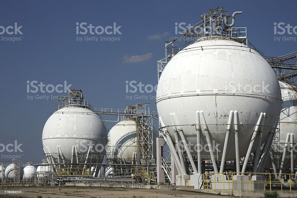 tanks in oil refinery factory royalty-free stock photo