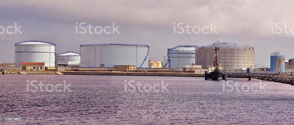 Tanks in the port of Port-la-Nouvelle France royalty-free stock photo