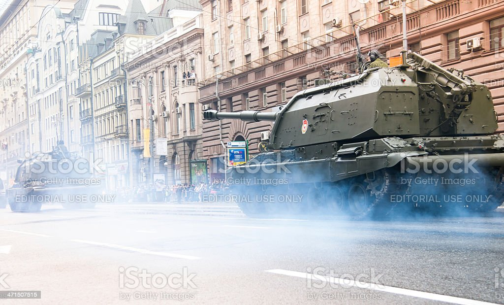 Tanks in the Streets of Moscow royalty-free stock photo