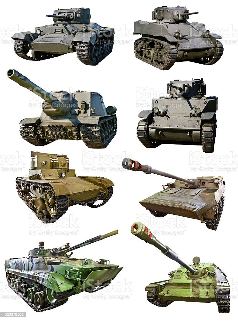 Tanks of Russian , American and British different time stock photo