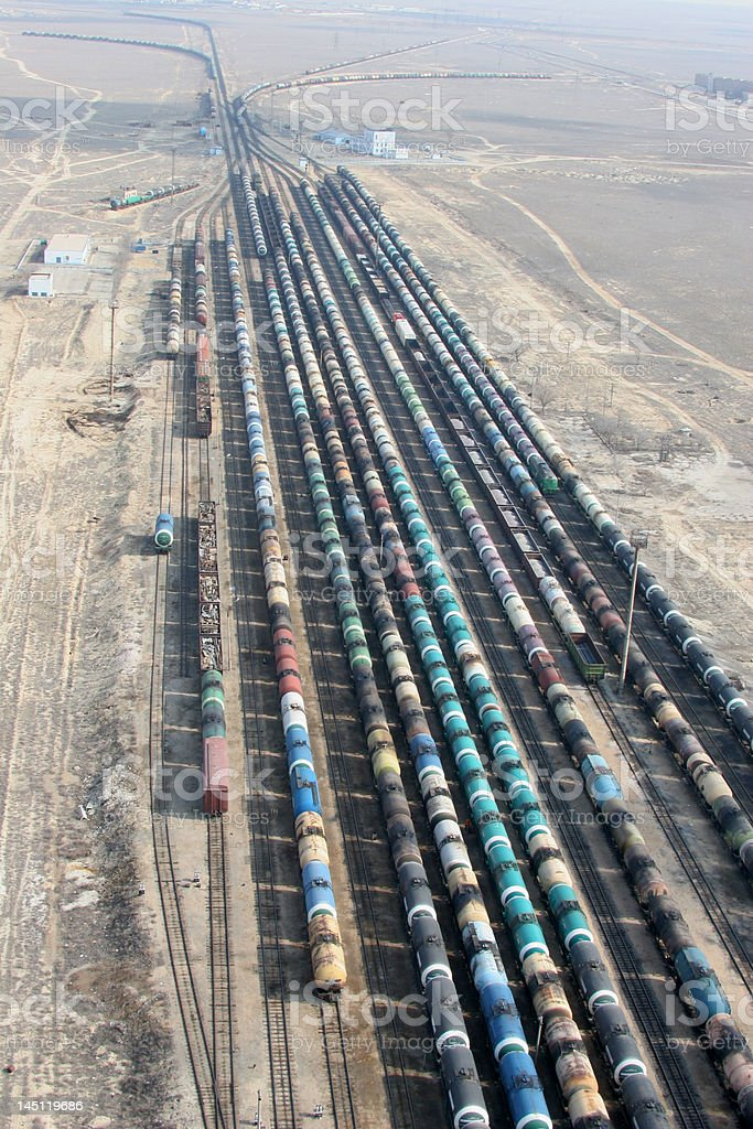 Tanks oil in steppe royalty-free stock photo