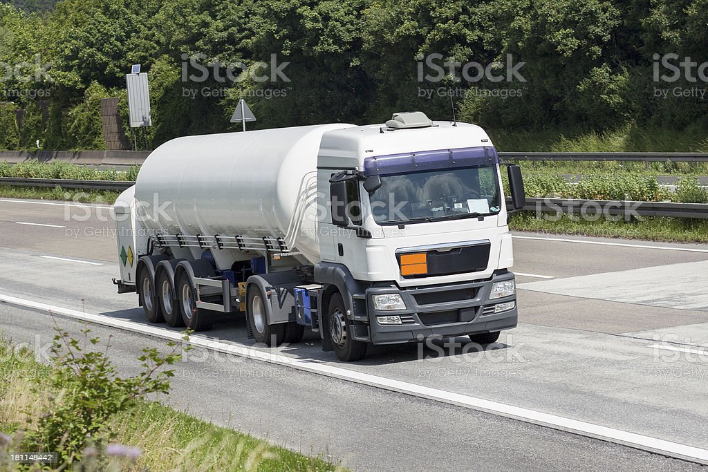 Tank/silo truck on the highway royalty-free stock photo