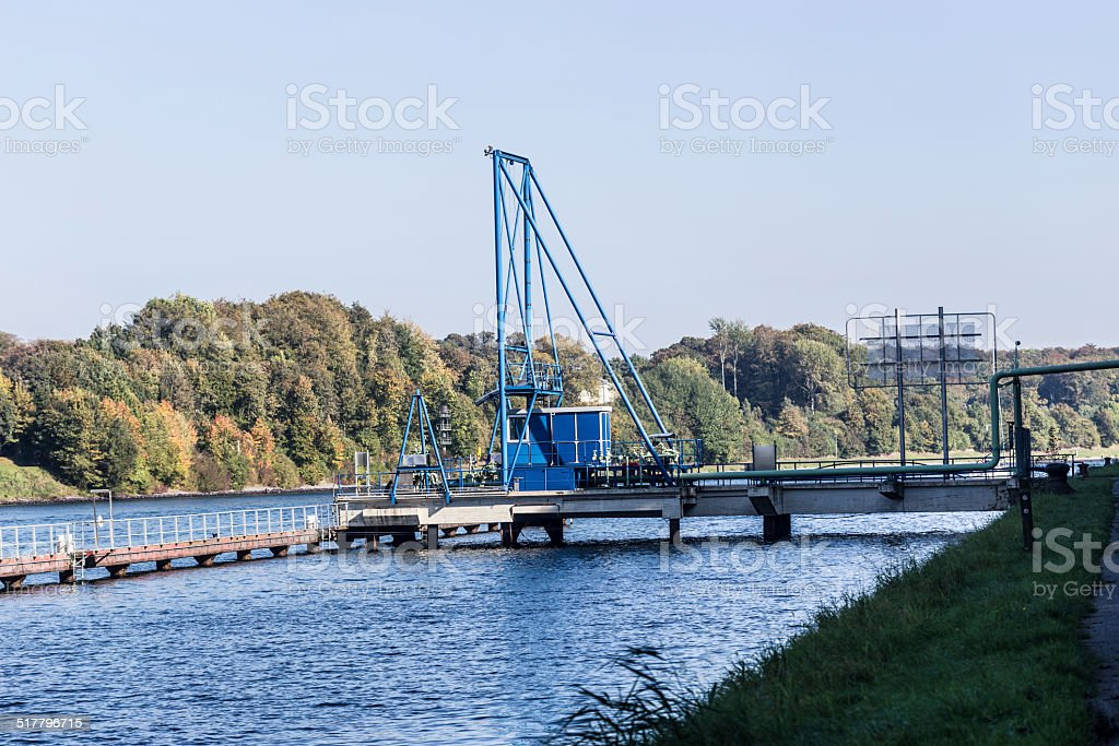 Tank-station on the North-Baltic Sea-canal stock photo