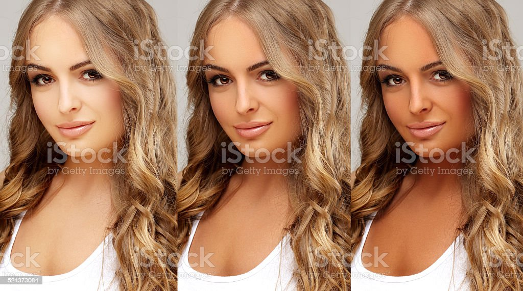 Tanned and natural.Different tones of tan stock photo