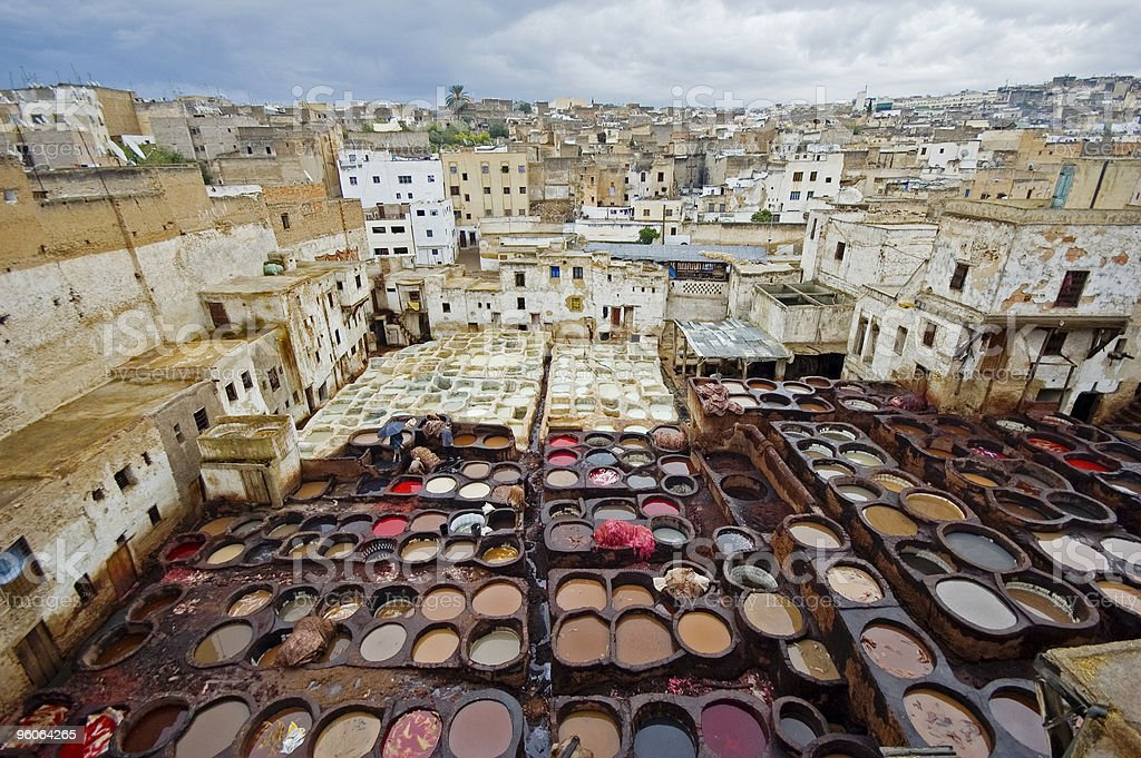 Tannerie in Fes stock photo