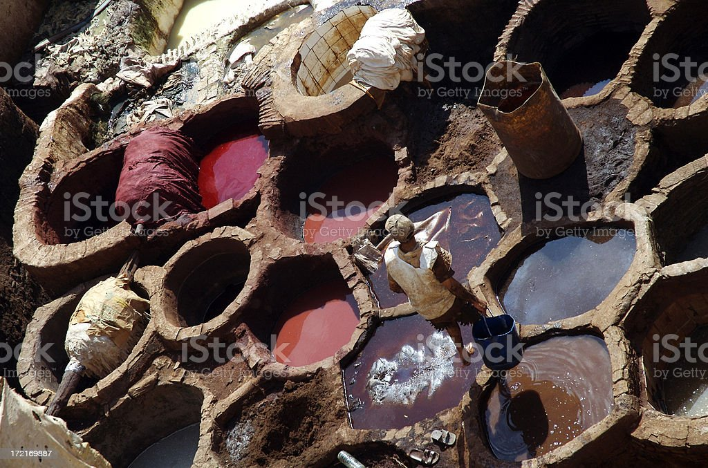 Tannery in Fez royalty-free stock photo