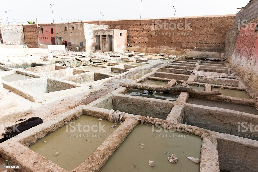 Tannerie in marrakech stock photo