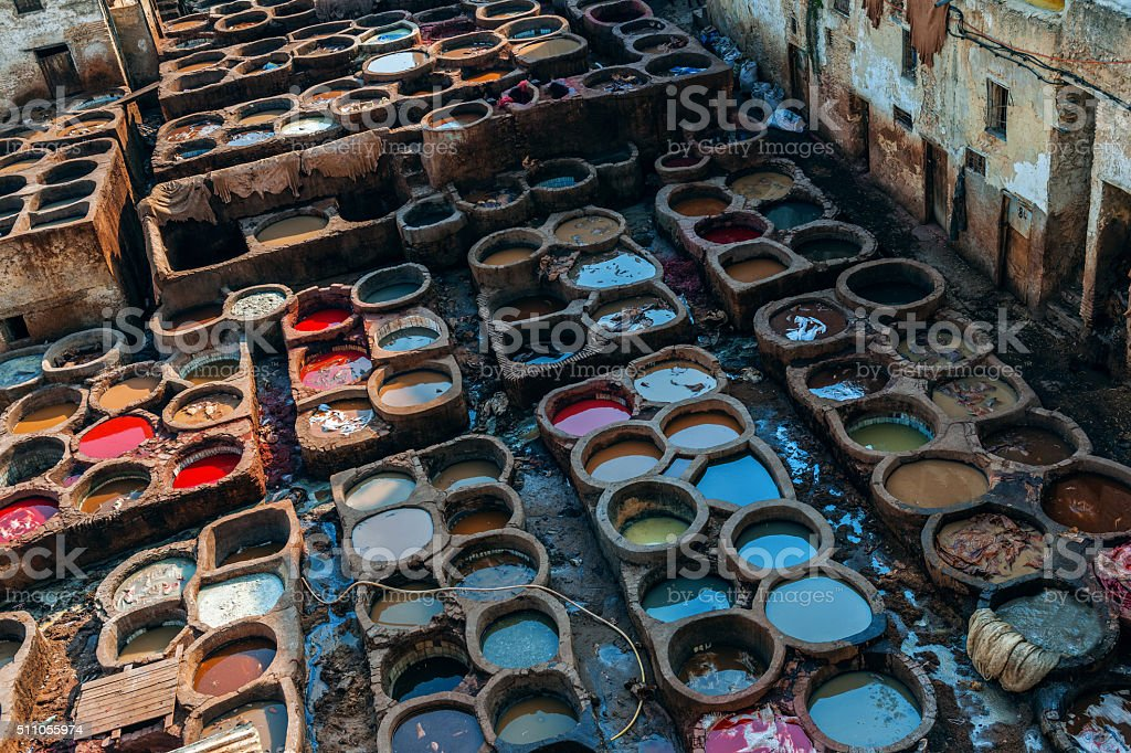 Tannery in Morocco, Leather Tanneries ,leather tannery, Fez, Morocco stock photo