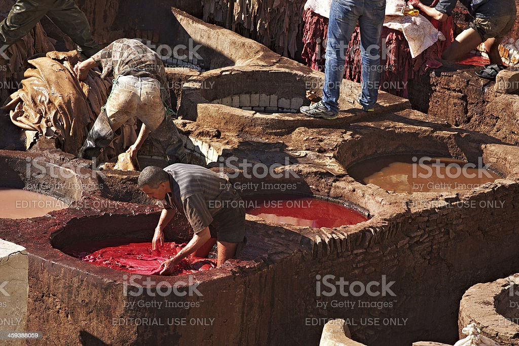 Tannery in the Medina of Fez stock photo