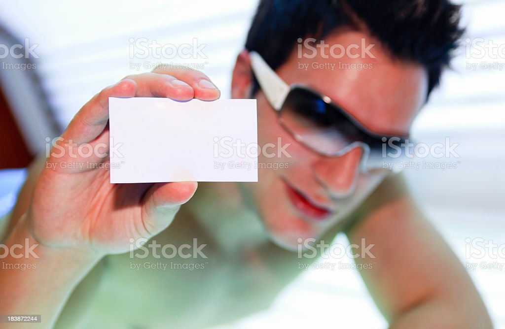 Tanning Man - Gray Business Card stock photo