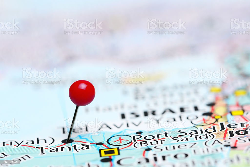 Tanta pinned on a map of Asia stock photo