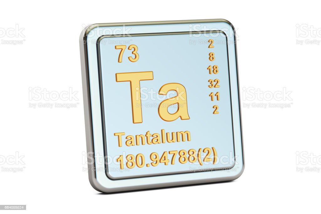 Tantalum Ta Chemical Element Sign 3d Rendering Isolated On White