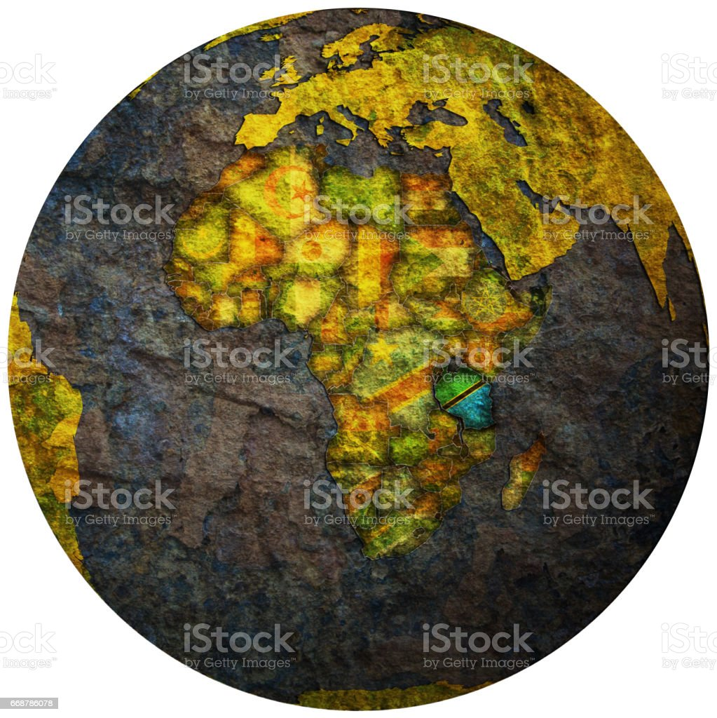 tanzania territory with flag on map of globe stock photo
