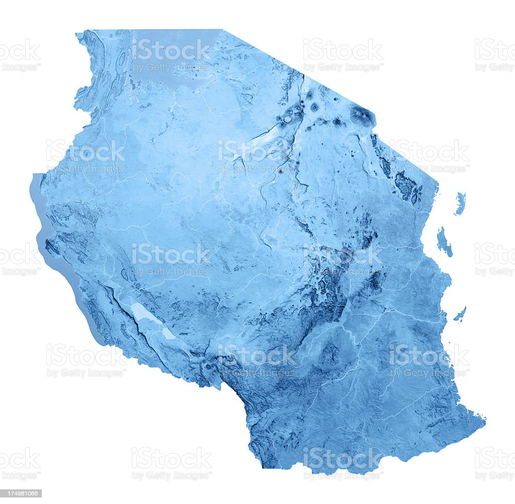 Tanzania Topographic Map Isolated stock photo