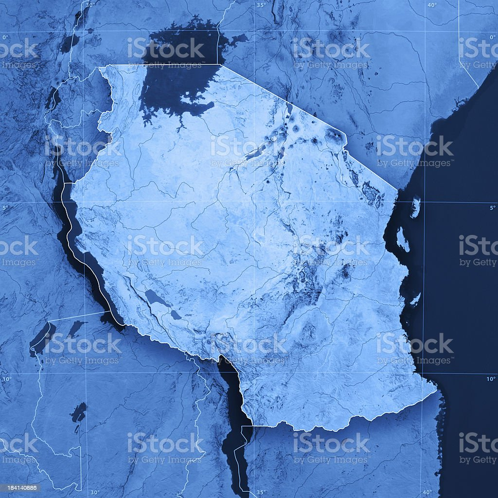 Tanzania Topographic Map stock photo