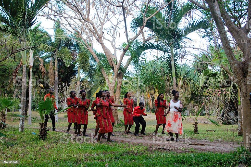 Tanzanian people singing and dancing. stock photo