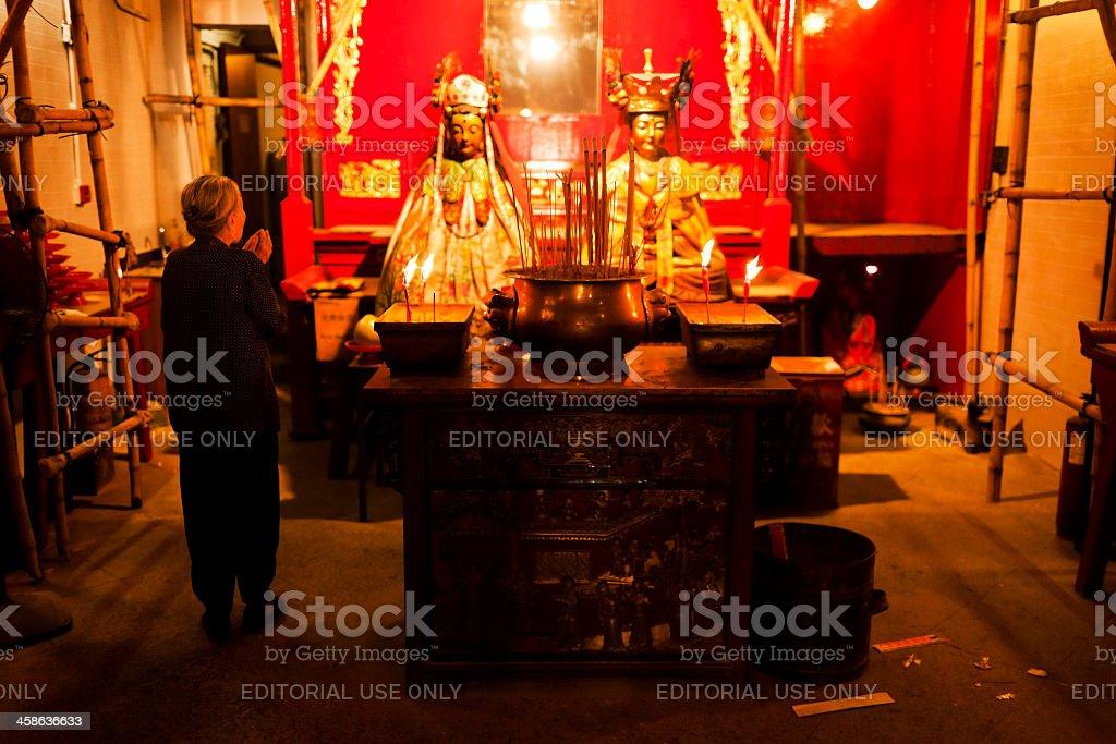 Taoism worship in Man Mo temple Hong Kong royalty-free stock photo