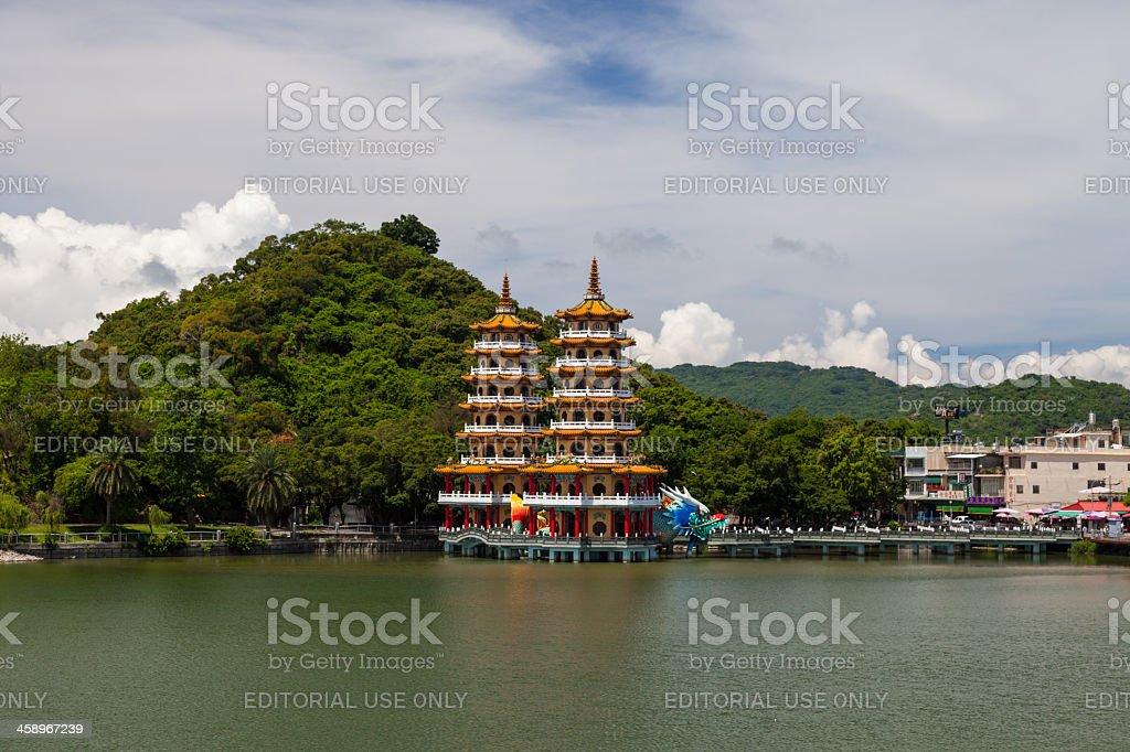 Taoist Chinese temple on the water of Lotus Lake, Taiwan stock photo