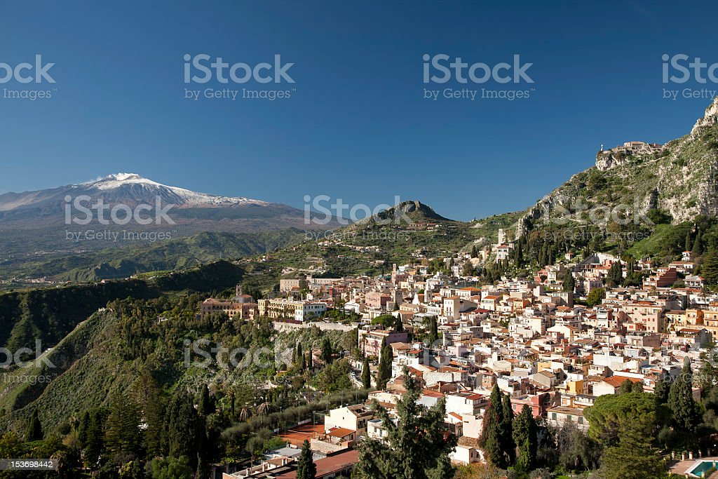 Taormina and Mount Etna stock photo