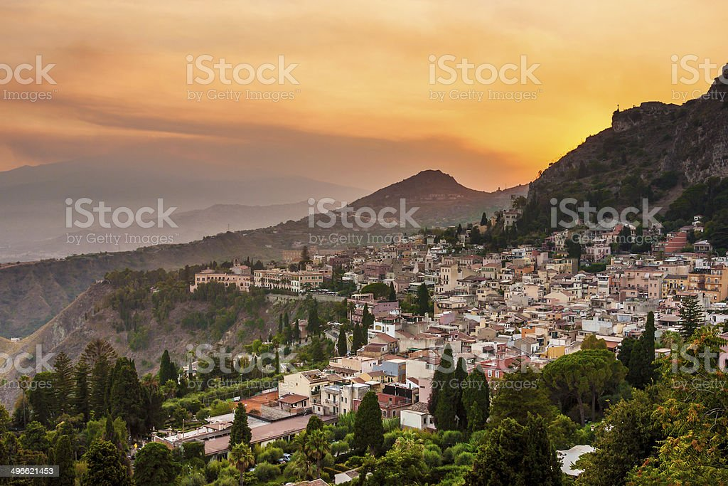 Taormina city and Etna volcano stock photo