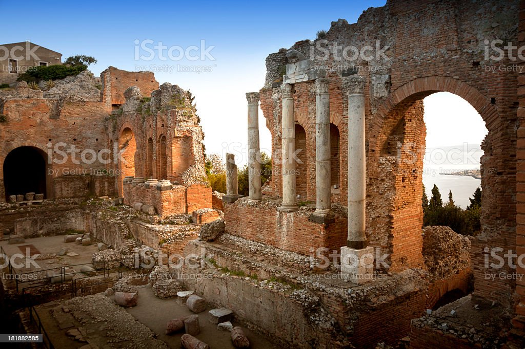 Taormina, Greek theater at sunset stock photo