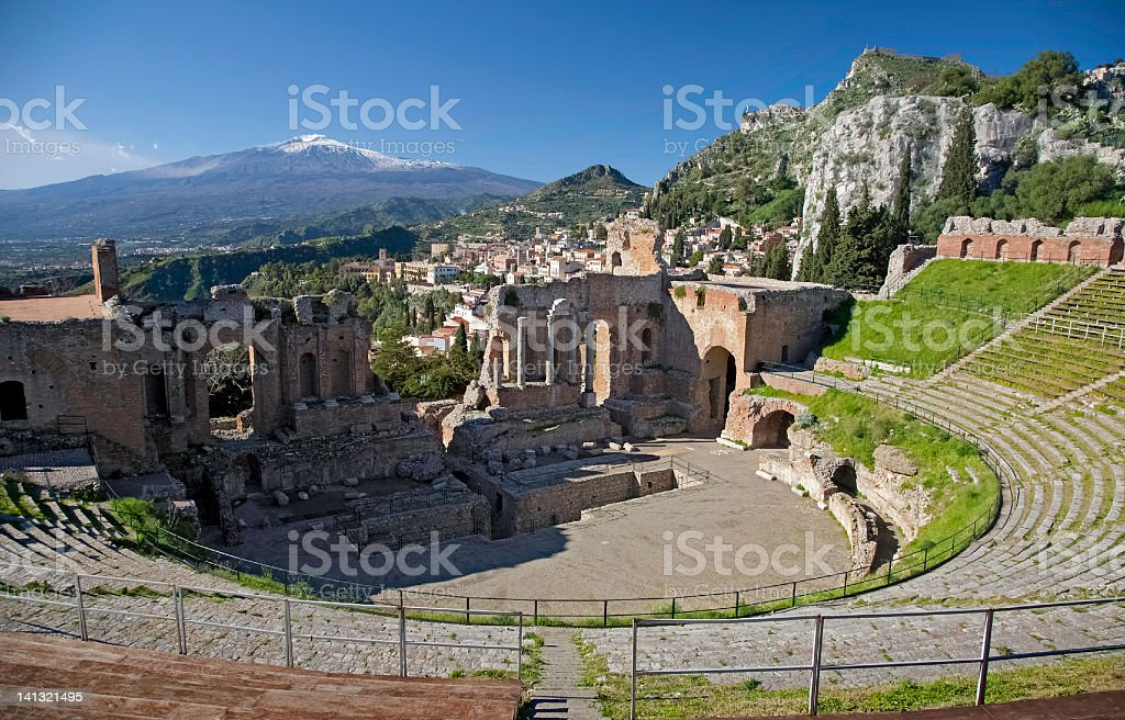Taormina, Greek theatre stock photo