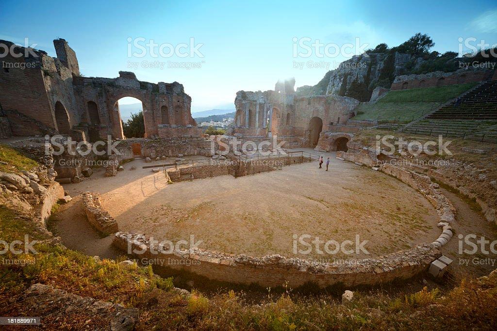 Taormina, Greek theatre stock photo