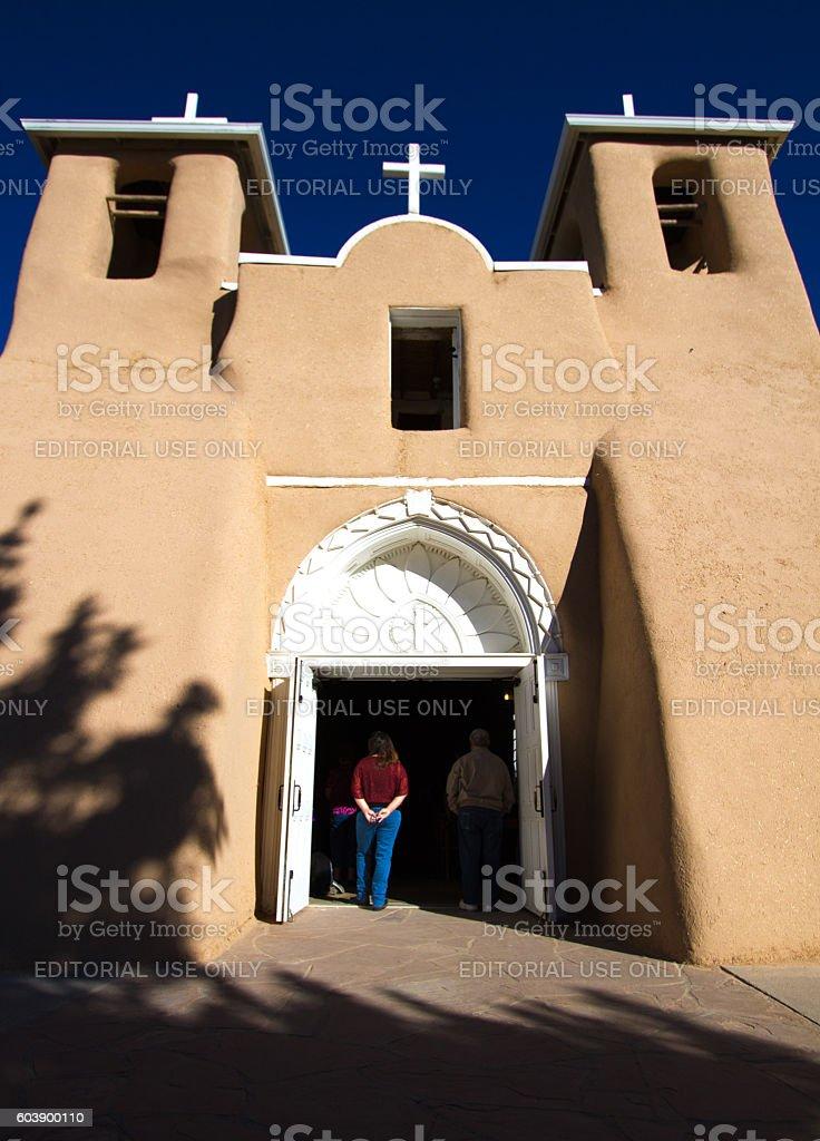 Taos, NM: Front View of Ranchos de Taos Church stock photo