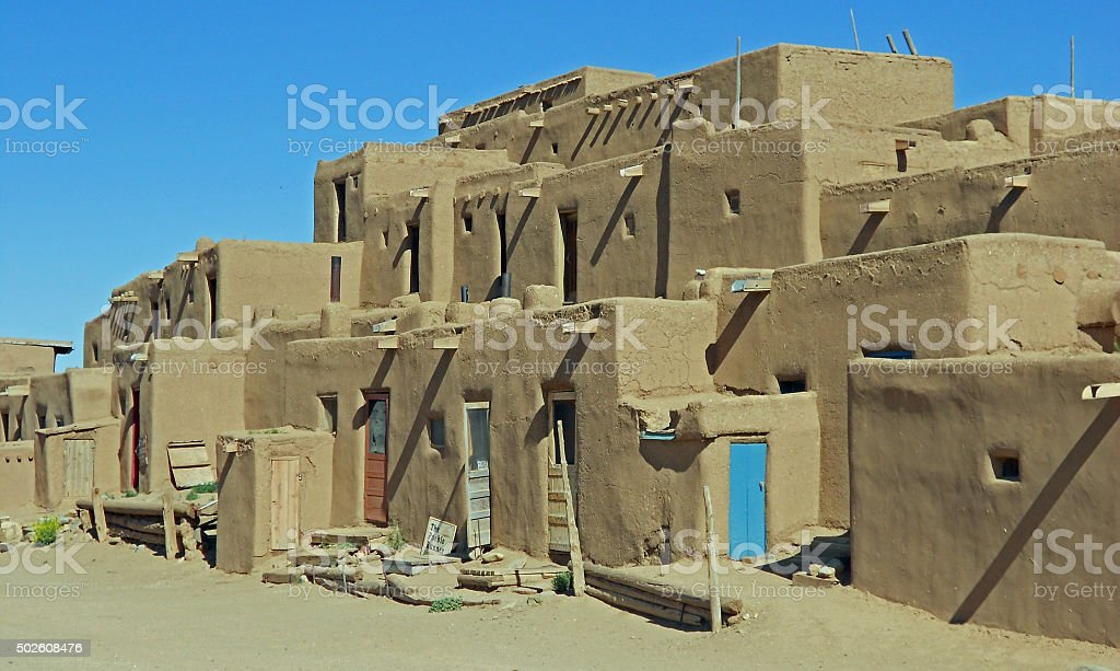 Taos Pueblo Adobe Structures stock photo
