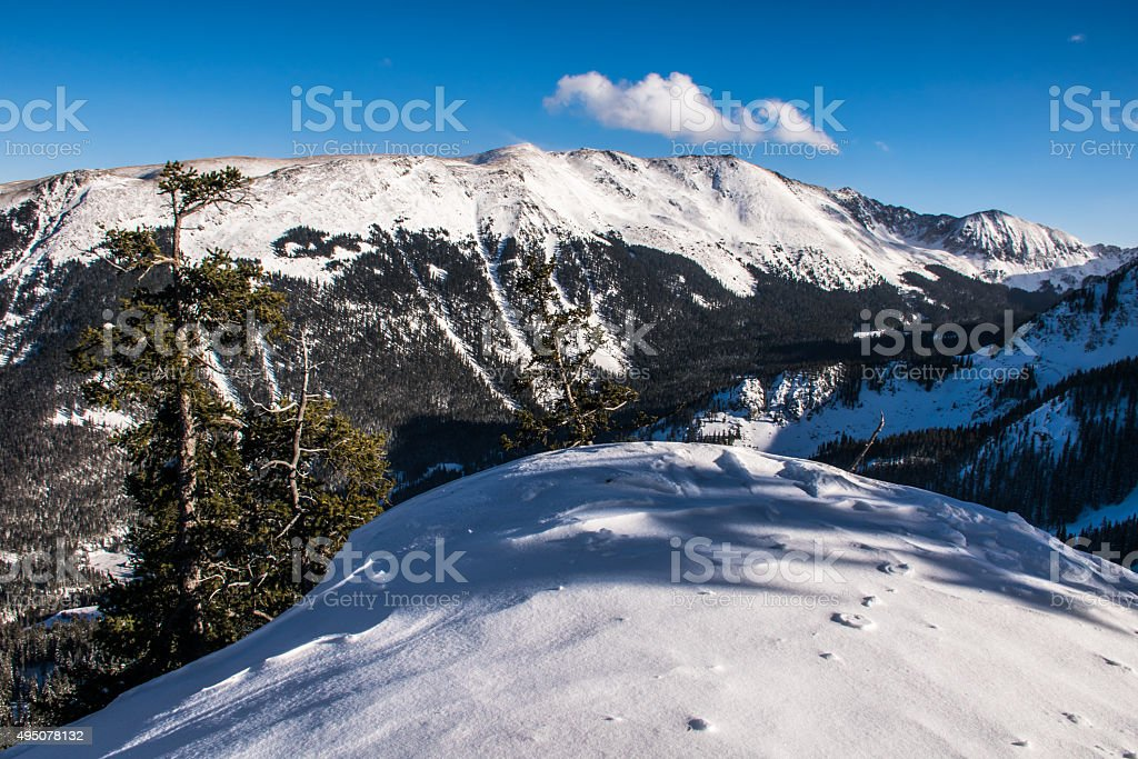 Taos Ski Valley Covered with Powder Snow Blue bird Day stock photo