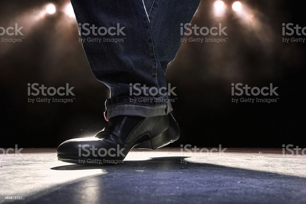 Tap dancing across the stage stock photo