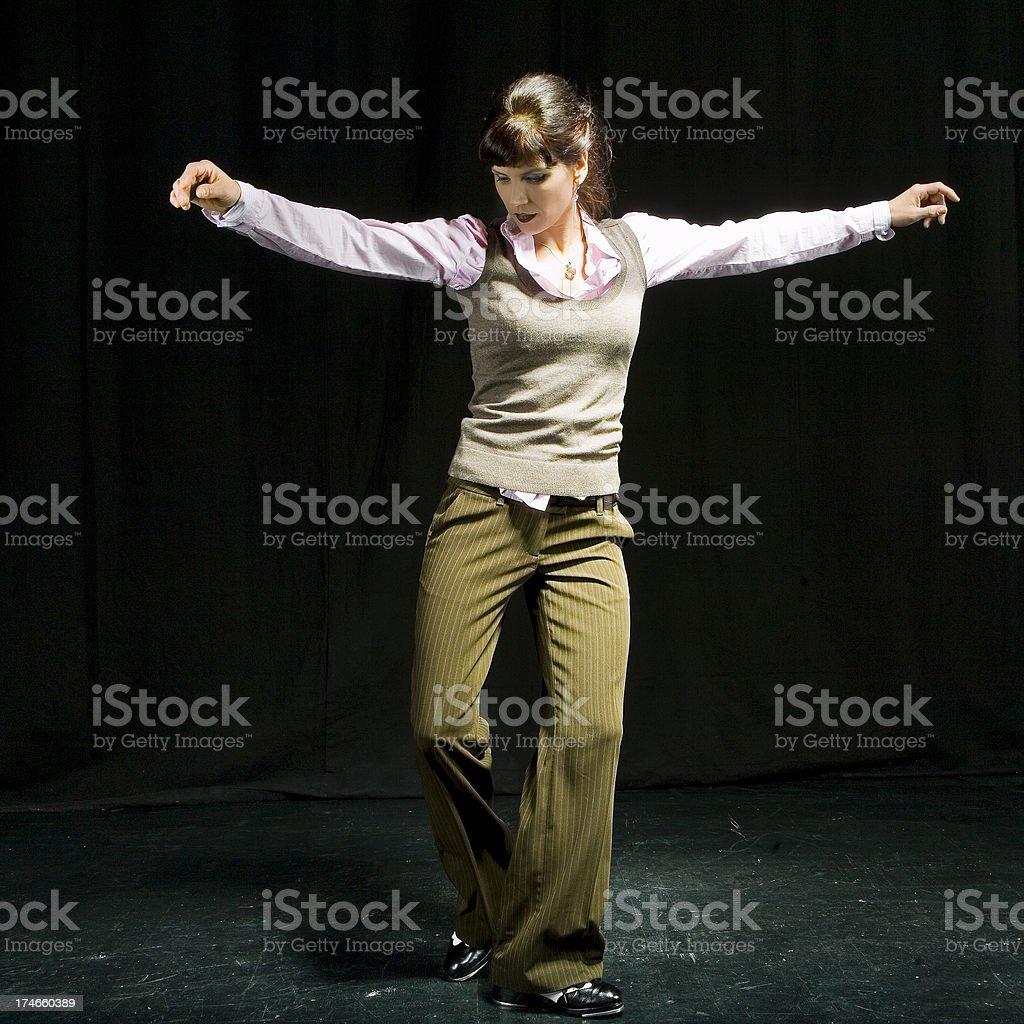 Tap dancing woman royalty-free stock photo