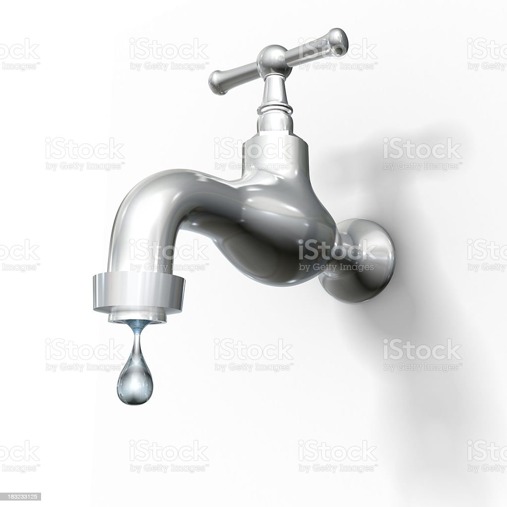 Tap with drop, isolated on white w. clipping path stock photo