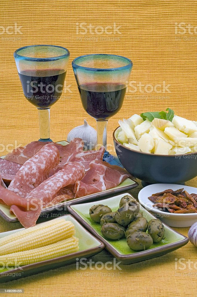 Tapas and red wine stock photo