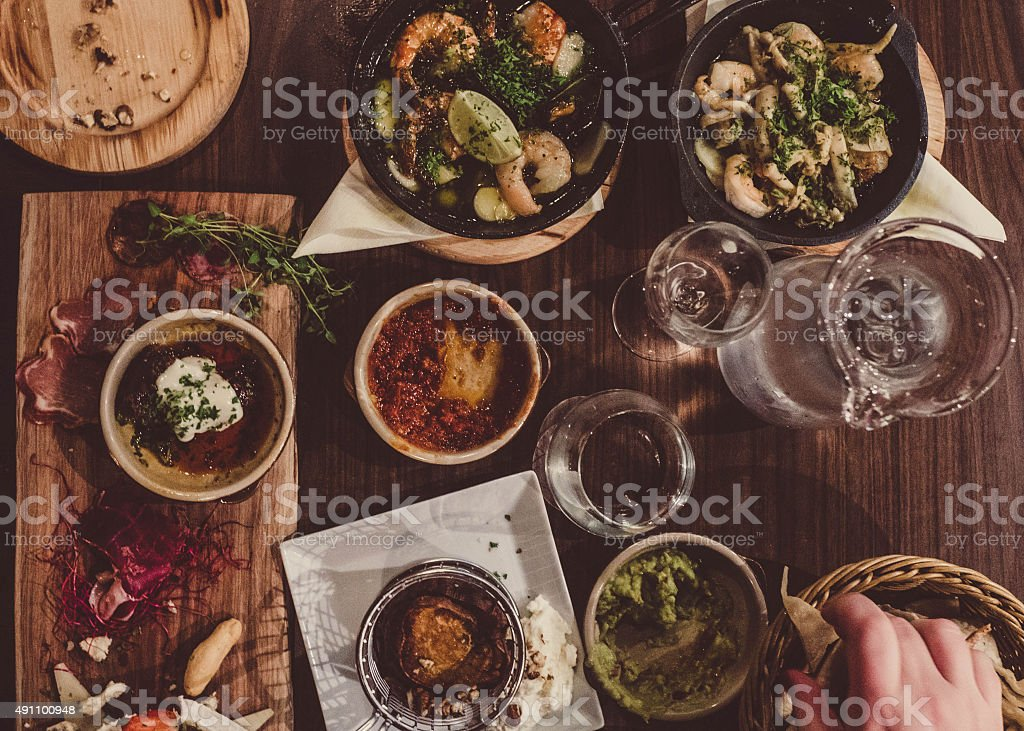 Tapas at a restaurant photo taken over head stock photo