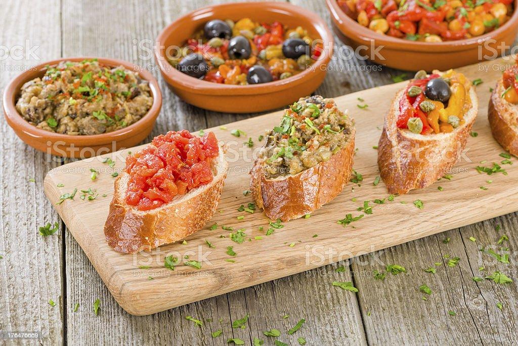 Tapas on Crusty Bread stock photo