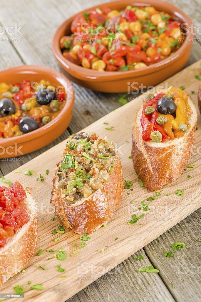 Tapas on Crusty Bread royalty-free stock photo