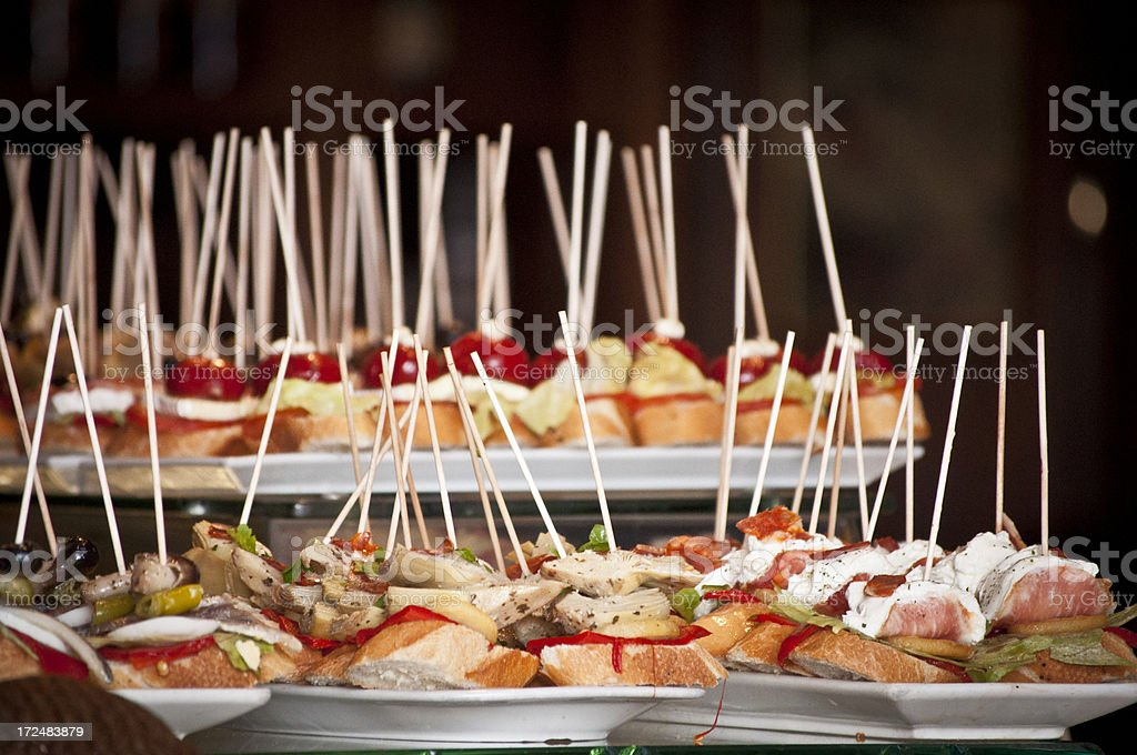 Tapas platters of fresh bread with toppings stock photo