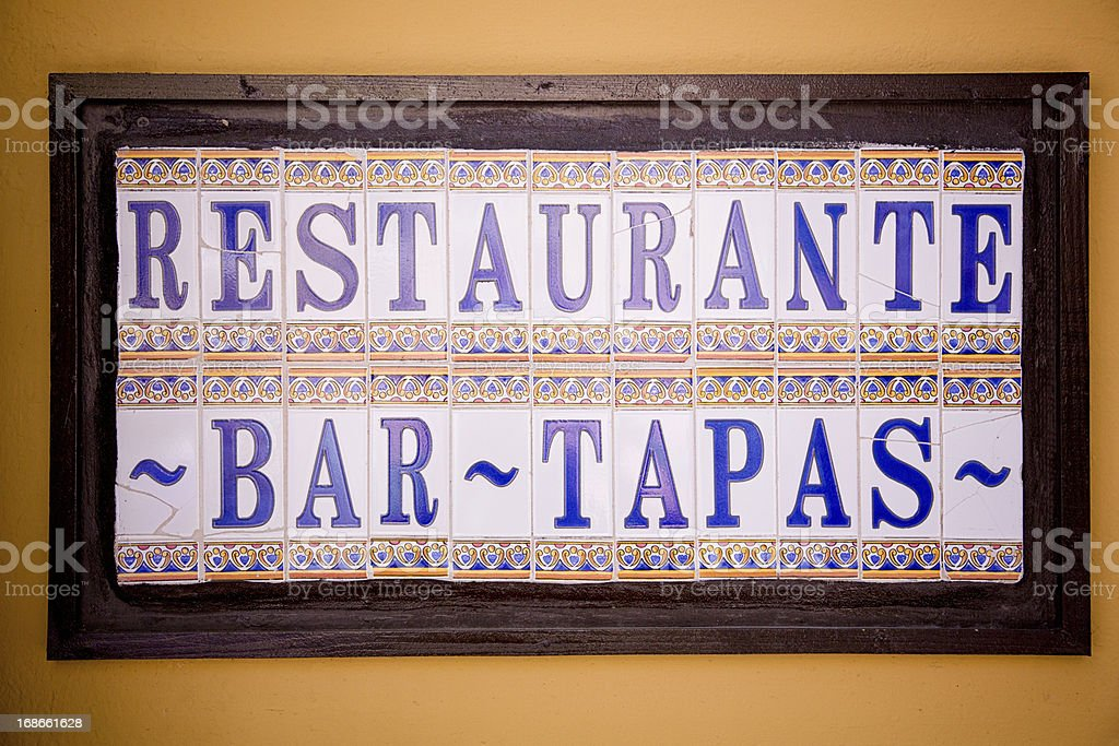 Tapas Restaurant Sign stock photo