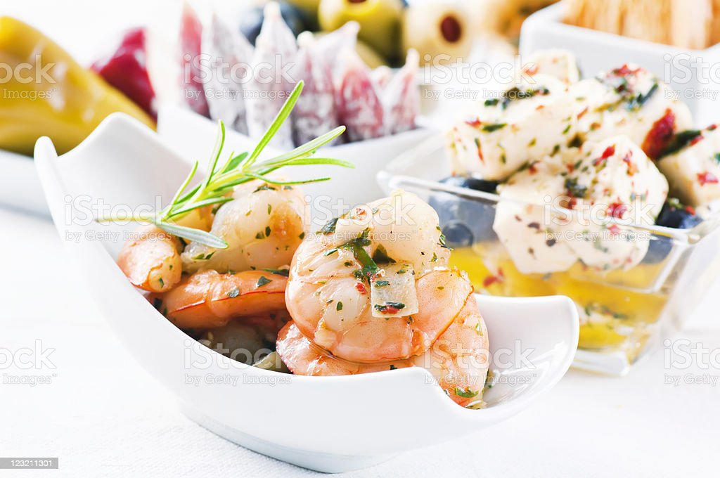Tapas with Seafood and Feta stock photo